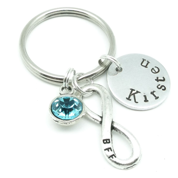 BBF best friends infinity gift name keyring personalised